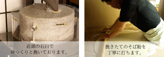 店頭の石臼で丁寧に挽いております。ぜひごらんください。挽きたてのそば粉を丁寧に打ちます。